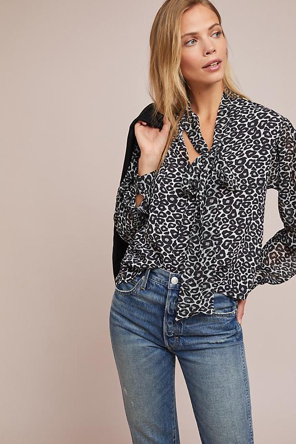 Marion Leopard-Print Peasant Top - Grey, Size Xs