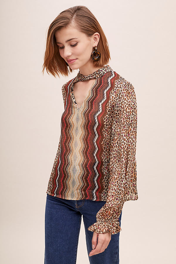 Mixed-Print Peasant Blouse - Assorted, Size Xs