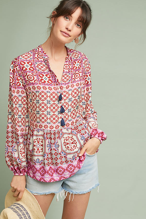 Diana Printed-Peasant Top - Assorted, Size Xs