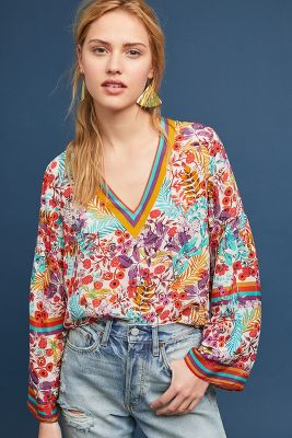 Sporty Floral Blouse by Anthropologie