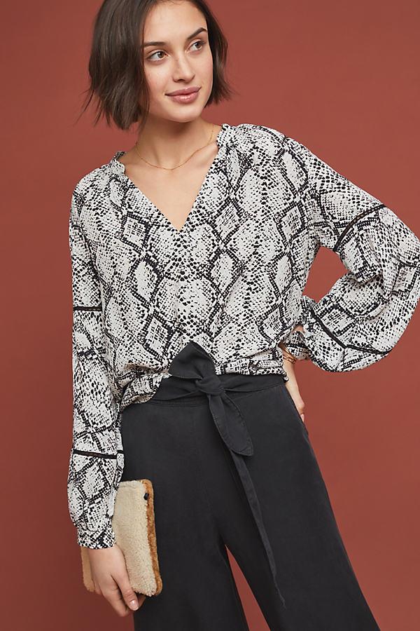 Lindsay Snake-Print Peasant Blouse - Grey, Size Xs