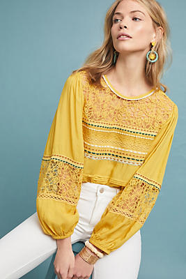 Slide View: 1: Sunshine Peasant Top