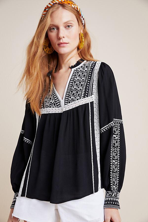 Anihera Peasant Top - Black, Size Xs