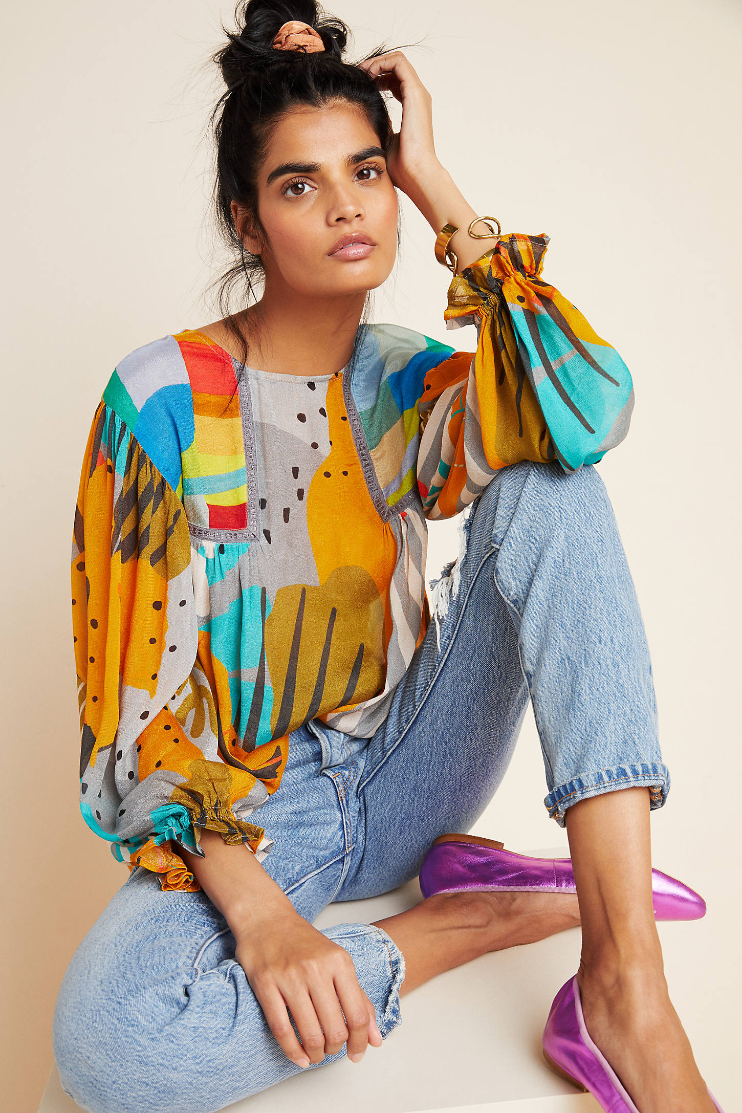 Bl-nk Miranda Peasant Blouse By  In Assorted Size 2 X