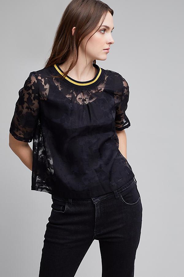 Anoush Lace Sports Trim Top, Black - Black, Size Uk 12
