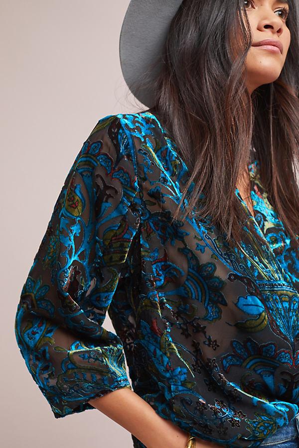 Siouxie Velvet Burnout Wrap Blouse - Blue, Size Uk 6