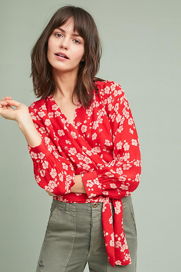 Slide View: 1: Agnisa Printed Wrap Blouse
