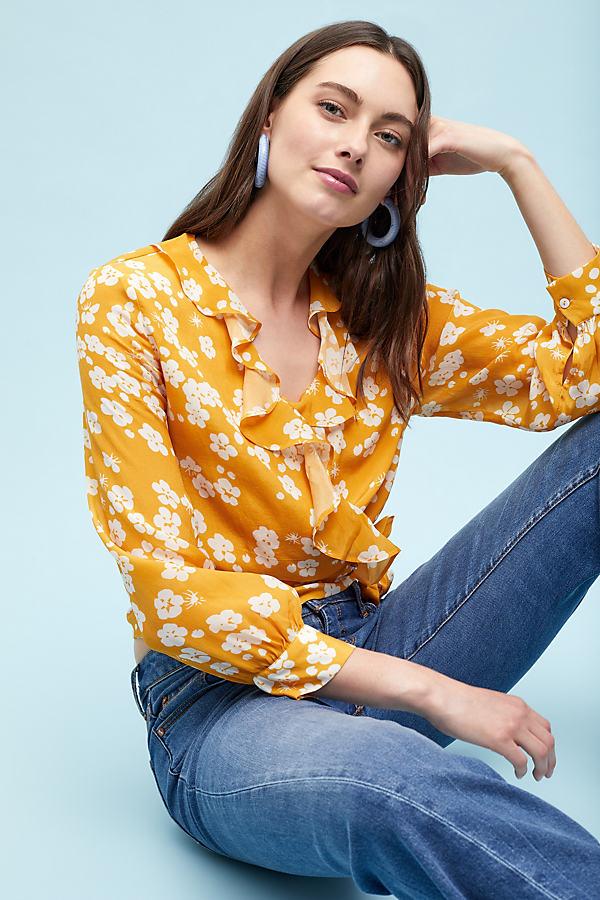 Cetona Printed-Wrap Blouse - Yellow, Size L