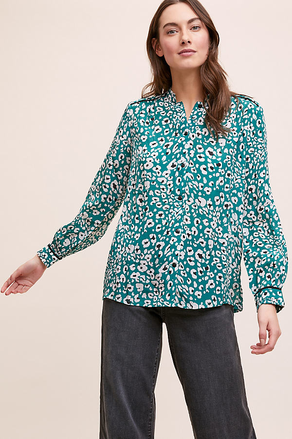 Cari Leopard-Print Top - Blue, Size Uk 14