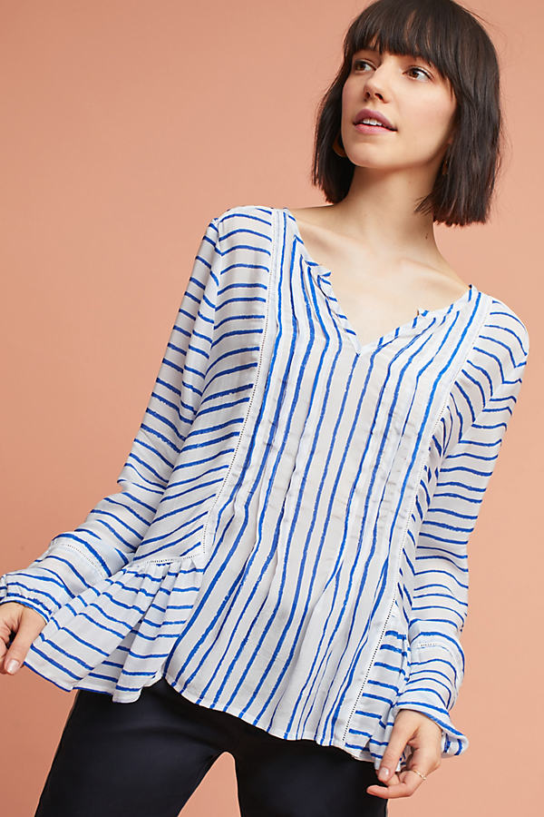 Janie Striped Lace Blouse - Blue, Size Uk 8