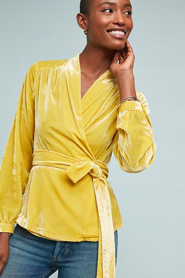 Vivenne Velvet Wrap Top - Gold, Size Xl