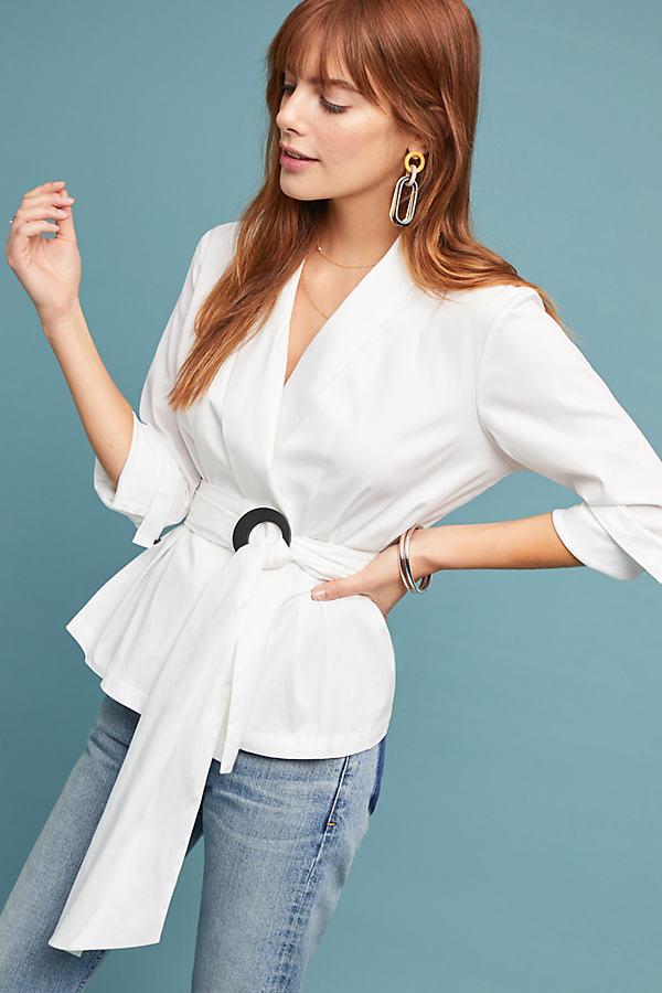 Charlotta Blazer Blouse - White, Size Uk 12