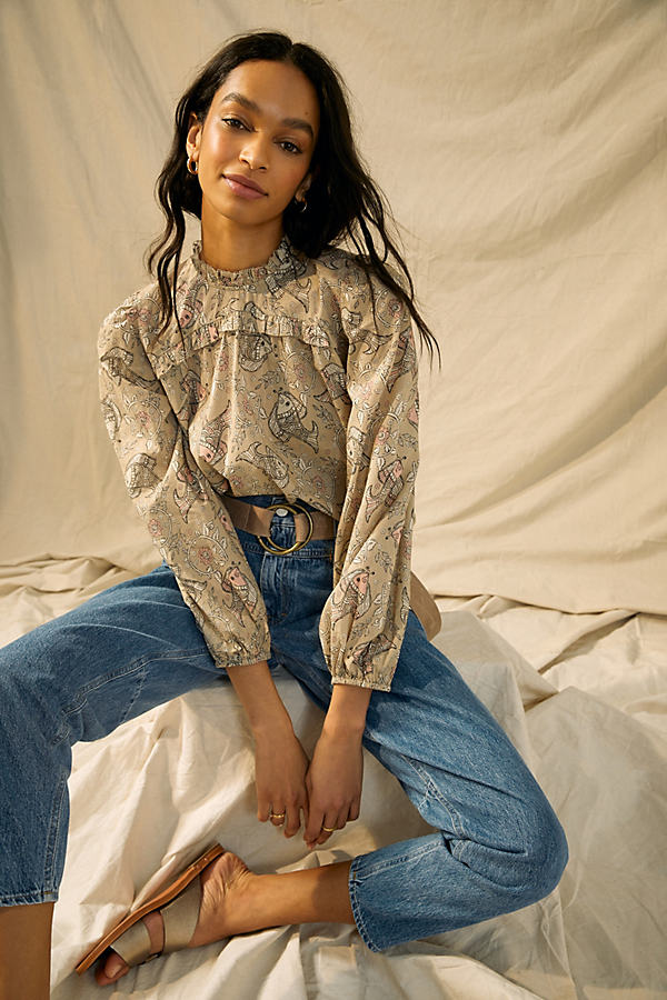 Let Me Be Maple Ruffled Blouse