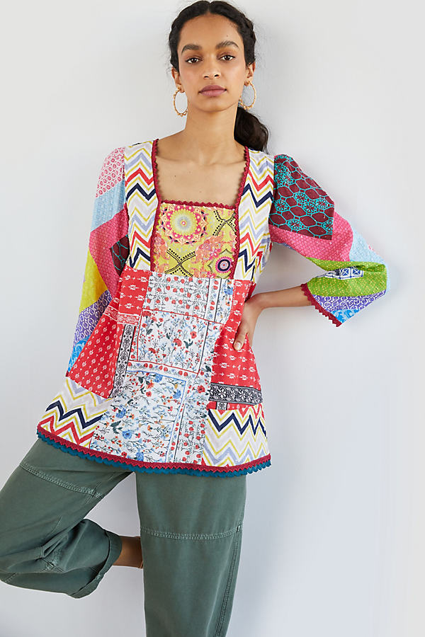 Let Me Be Patchwork Babydoll Blouse