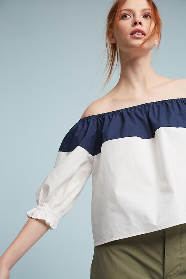 Delma Off-The-Shoulder Blouse, White - White, Size S