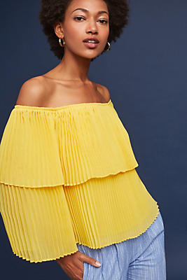 Slide View: 1: Pleated Off-The-Shoulder Top