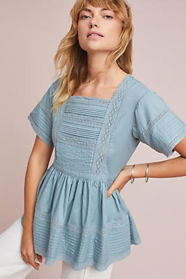 Slide View: 1: Cleo Lace-Trimmed Blouse