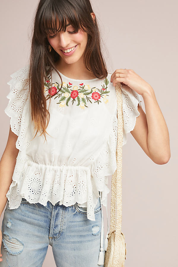 Polly Eyelet-Embroidered Top - White, Size Xl