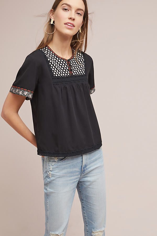 Embroidered Peasant Tee - Black, Size Xs