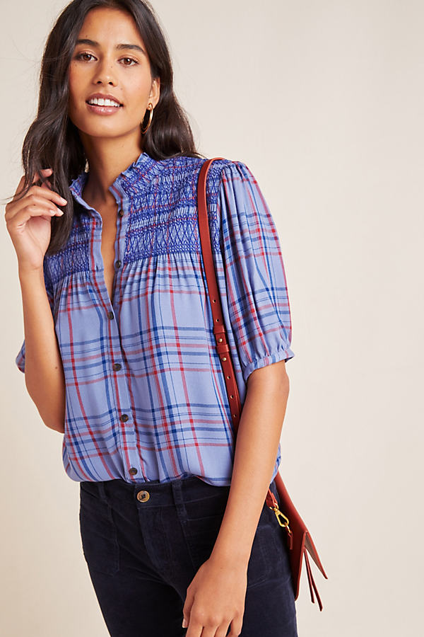 Lise Smocked Plaid Top - Assorted, Size M