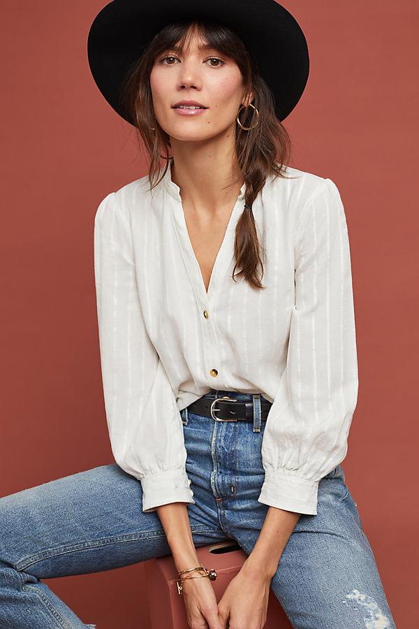 Chenille Striped Tunic - White, Size Uk 16