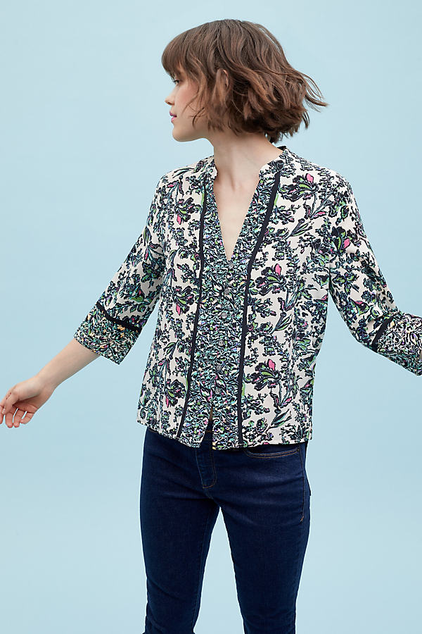 Anneliese Floral-Print Silk Shirt - Assorted, Size Uk 6