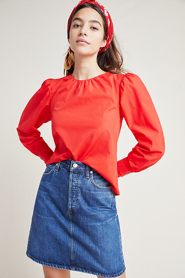 Rowan Poplin Top - Red, Size Uk 8