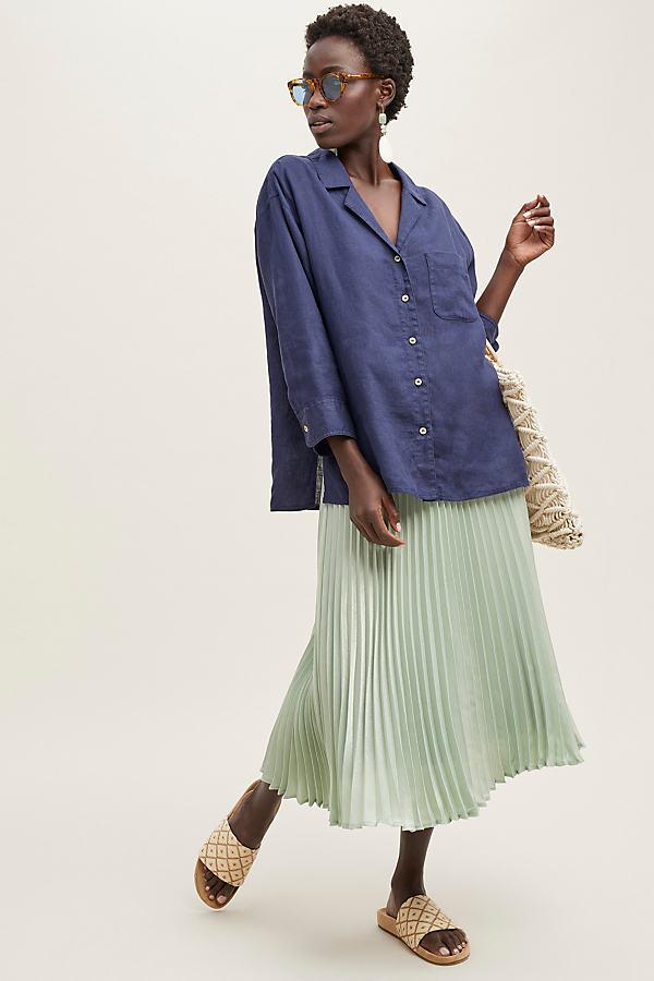 Philina Linen Shirt - Blue, Size Uk 12