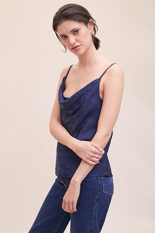 Irena Jacquard Cami Top - Blue, Size Uk 14