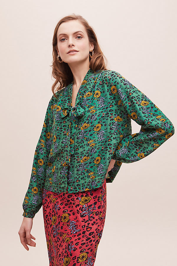 Anthropologie x JRF Femmy Mixed-Print Blouse - Assorted, Size Uk 8