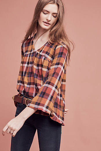 Orgenta Plaid Top