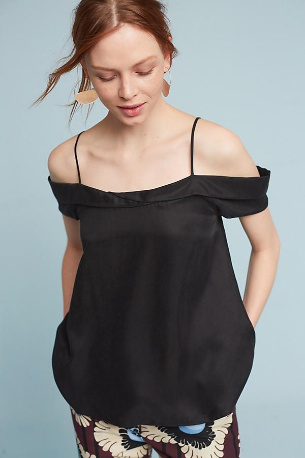Cerise Open-Shoulder Blouse, Black - Black, Size Xs