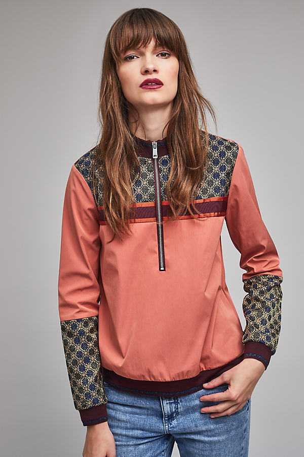 Gertje Jacquard Mix Track Top - Pink, Size M