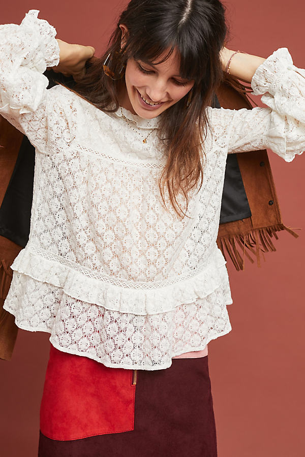 Annabelle Ruffled Blouse - White, Size Uk 8