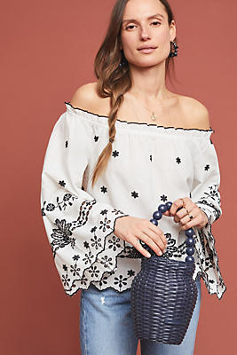 Slide View: 1: Campbell Embroidered Off-The-Shoulder Blouse