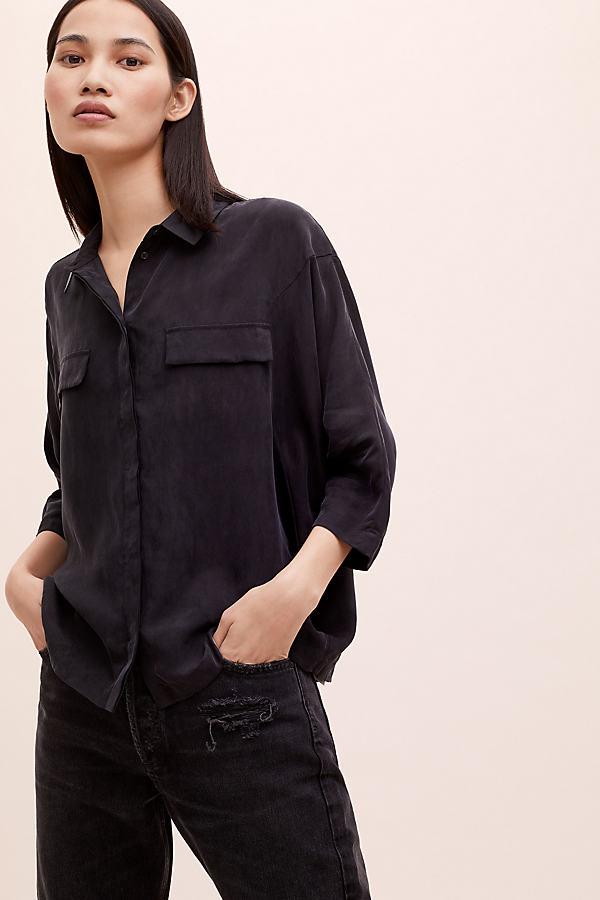 Christiana Silk-Pocket Shirt - Black, Size Uk 8