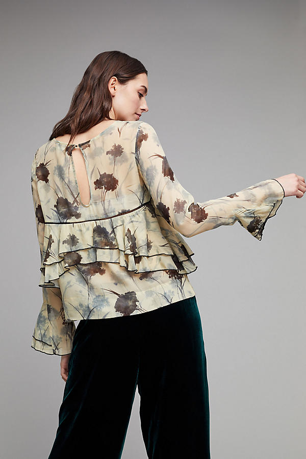 Slide View: 2: Yelta Floral Ruffle Blouse