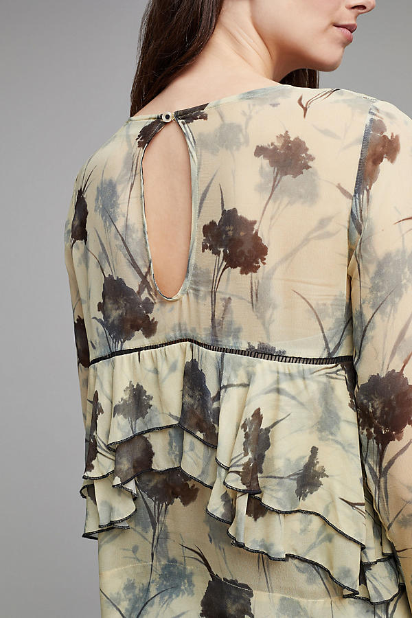 Slide View: 4: Yelta Floral Ruffle Blouse