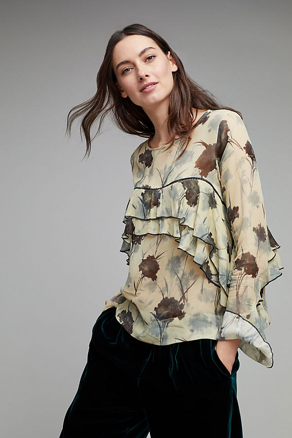 Yelta Floral Ruffle Blouse - A/s, Size S