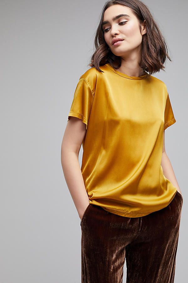 Slide View: 1: Petrea Satin Tee, Chartreuse