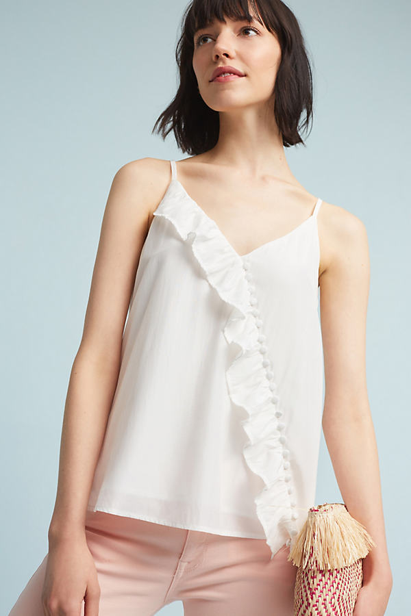 Ainsley Ruffled Top, White - White, Size M