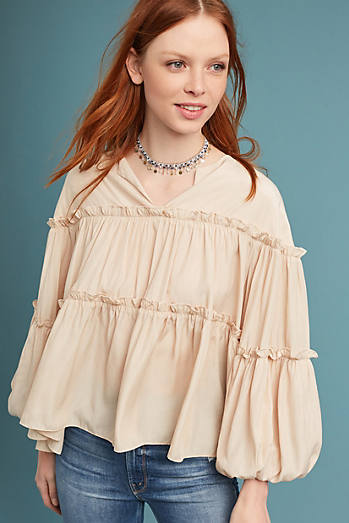 Ruffled Balloon-Sleeve Blouse