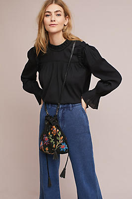 Slide View: 1: Ruffled Bell-Sleeve Blouse