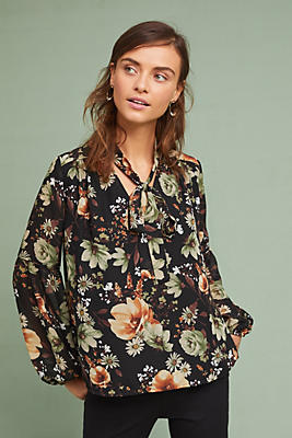 Slide View: 1: Tie-Neck Floral Blouse