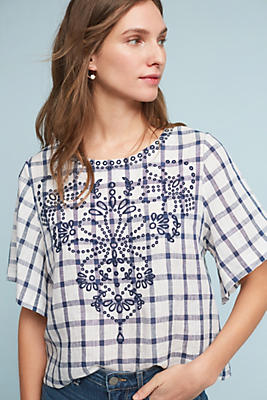 Slide View: 1: Embroidered Gingham Top