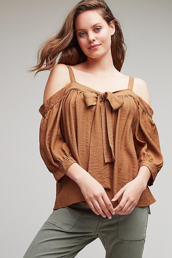 Eldora Cold-Shoulder Top - Sand, Size L