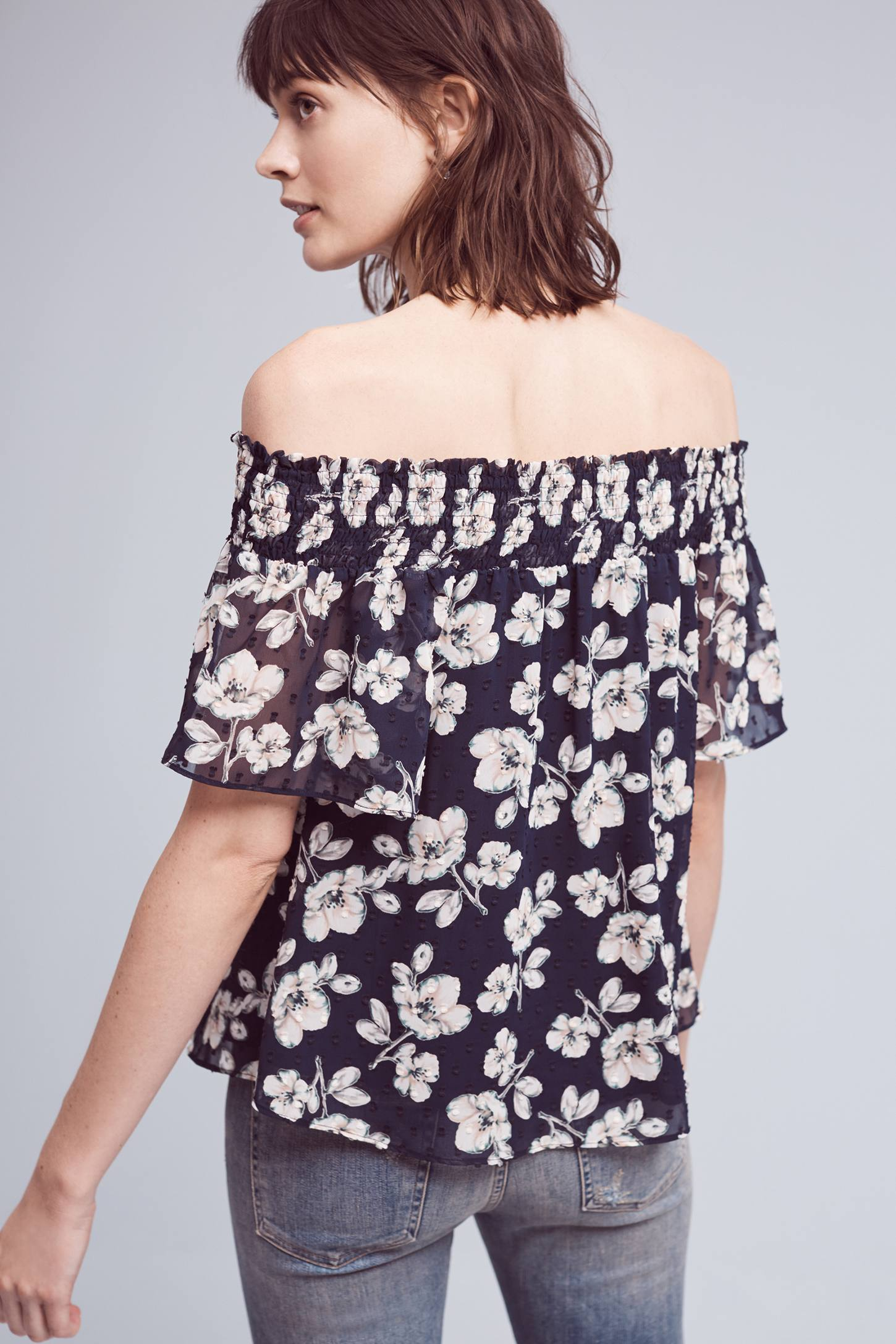 Slide View: 2: Brio Off-The-Shoulder Top, Blue
