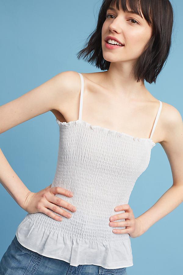 Echuca Smocked Cami - White, Size Xl