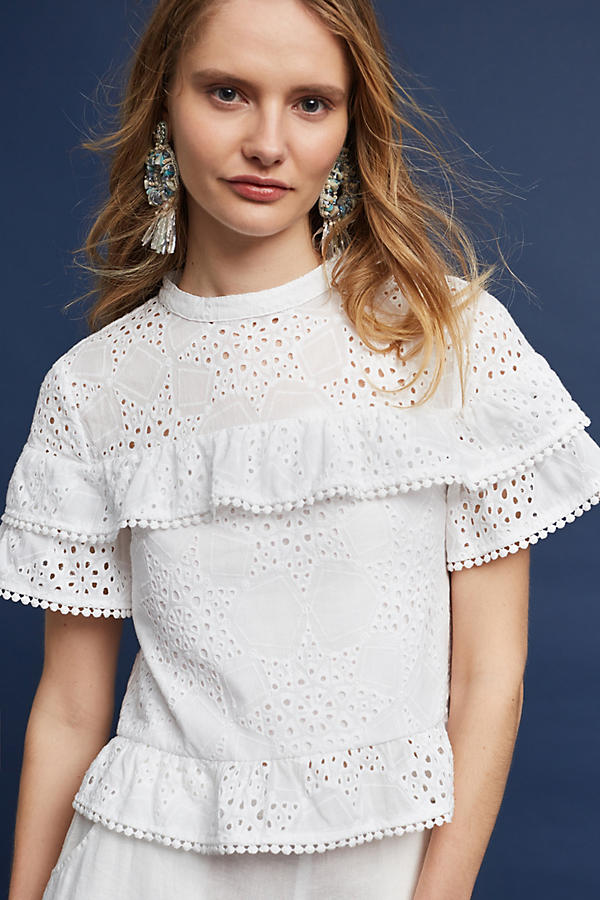 Slide View: 1: Emery Lace Top, White