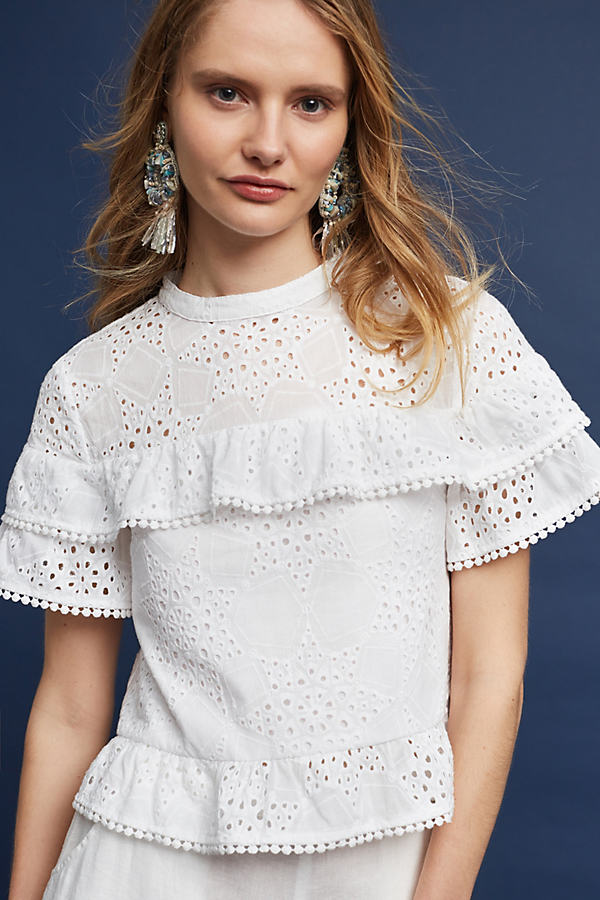 Emery Lace Top, White - White, Size L
